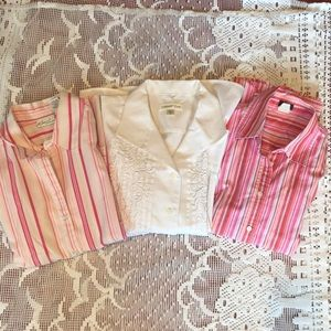 Lot of 3 Button Up tops jcrew coldwater creek
